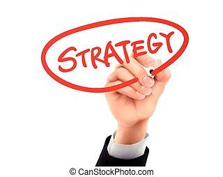 strategia, scritto, mano,  3D