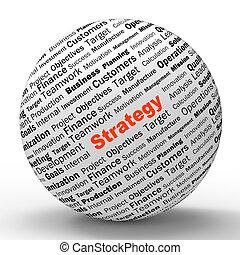strategia, sfera, definizione, esposizione, riuscito,...