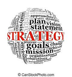 strategia, wordcloud, palla, parola, etichette