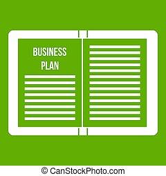 strategia, zielony, plan, handlowy, ikona