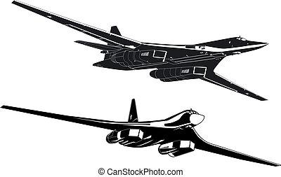 strategic bombers silhouettes set - russian strategic...