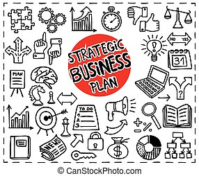 Strategic Business Plan icons set. Freehand doodle icons set. Graphic elements. Vector illustration