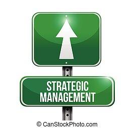strategic management road sign illustration design over a ...