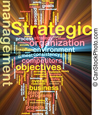 Strategic management wordcloud glowing - Word cloud tags...