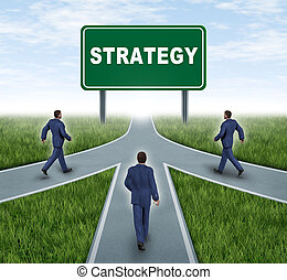 Strategic partnerships converging on the same road as a team sharing the same strategy and vision for the success of a company by working together as a conglomerate represented by three roads merging together into one with three business men walking.
