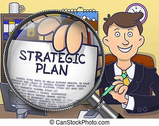 Strategic Plan through Magnifier. Doodle Style.
