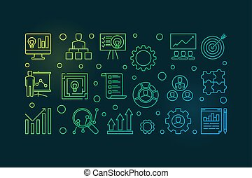 Strategic Planning Process colored banner. Vector illustration