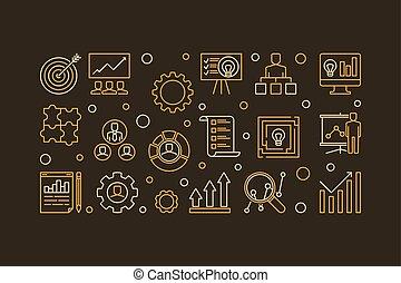 Strategic Planning Process vector line illustration or banner