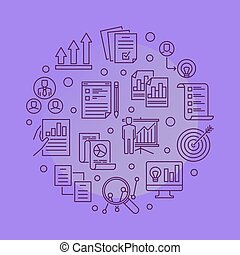 Strategic Planning Process vector round line illustration