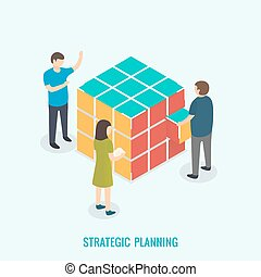 Strategic planning, Teamwork concept.