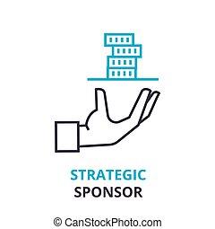 strategic sponsor concept , outline icon, linear sign, thin line pictogram, logo, flat illustration, vector