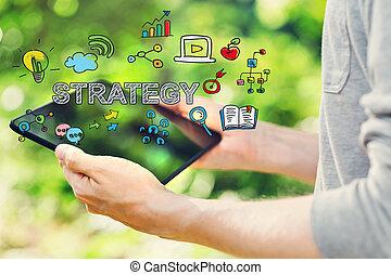 strategie, concept, met, jonge man, vasthouden, zijn, tablet, computer