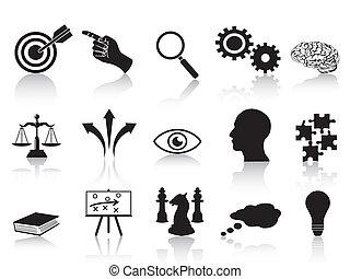 strategie, concepten, set, iconen