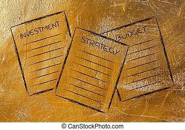 strategie, investering, zakelijk, documents:, begroting