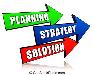strategie, planning, pijl, oplossing