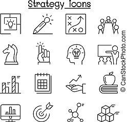 strategie, &, planung, ikone, satz, in, dünne linie, stil