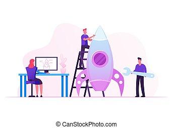strategie, schets, illustratie, businesspeople, team,...