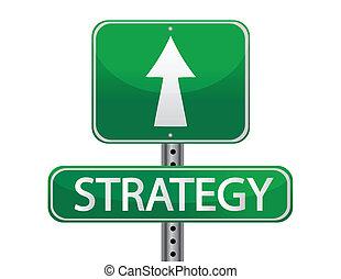 strategie, straßenschild, begriff