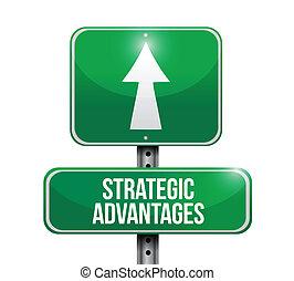 strategisch, advantages, straat, illustratie, meldingsbord