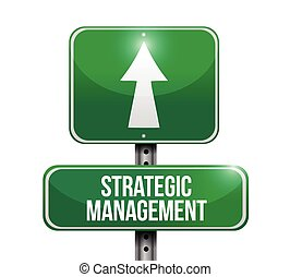 strategisch, management, straat, illustratie, meldingsbord