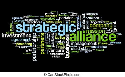 strategisch, verbond, concept, in, label, wolk