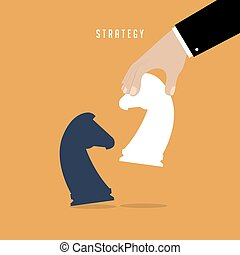 Strategist holding in hand chess figure white horse. Business strategy concept.