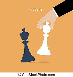 Strategist holding in hand chess figure white king. Business strategy concept.