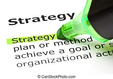 'strategy', aangepunt, in, groene
