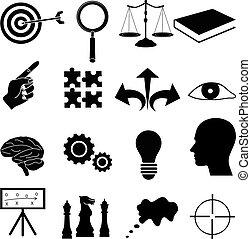 strategy achieve goals icons set
