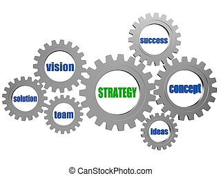 strategy and business concept words in silver grey gearwheels