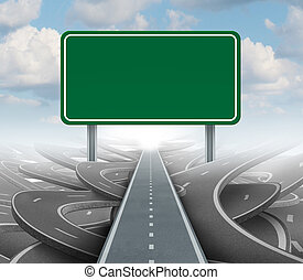Strategy blank sign as a clear plan and solutions for business leadership with a straight path to success choosing the right strategic road with a green highway signage with copy space on a sky background.