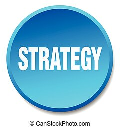 strategy blue round flat isolated push button