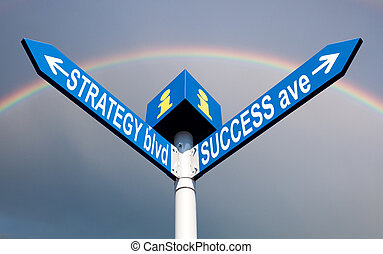 Strategy blvd and success ave direction post over cloudy sky