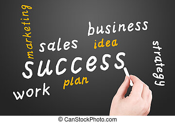 Strategy. Business plan on a black blackboard - The business...