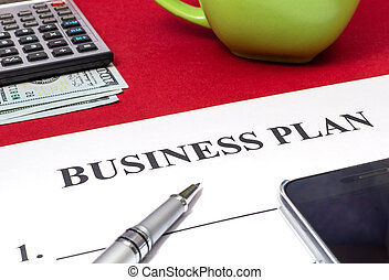 Strategy business plan with pen, coffee, calculator and money on red table.