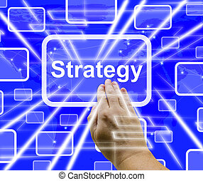 Strategy Button Showing Planning And Vision 3d Rendering -...