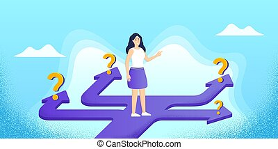 strategy., choice., γυναίκα , ψάχνω , εκλεκτός , σταδιοδρομία , design., σύγχυσα , δρόμος , σωστό , ερώτηση , ατραπός , marks., μικροβιοφορέας , μέλλον