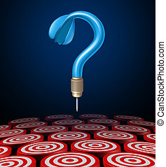Strategy choice and strategic options as a blue dart in the shape of a question mark as a business symbol of uncertainty in choosing the right plan for success on black.