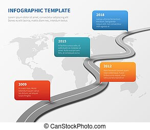 Strategy chronological road map. Business vector timeline