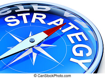 strategy - 3D illustration of a compass with a strategy icon