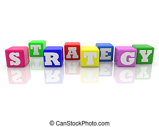 Strategy concept on colorful cubes on white background