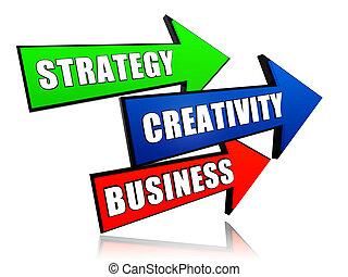 strategy, creativity, business in arrows