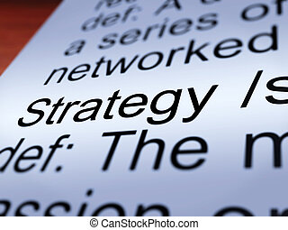 Strategy Definition Closeup Showing Leadership