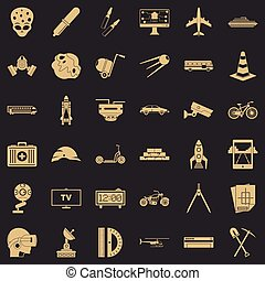 Strategy development icons set, simple style
