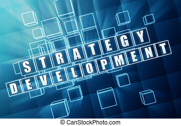 strategy development in blue glass cubes