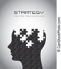 strategy - silhouette man with puzzles, strategy. vector...