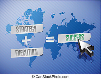 strategy, execution and success illustration design over a world map