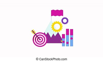 Strategy Flat animation. Mountains and a flag on top, a target with an arrow in the center, a growing trend. Strategy infographics pictogram.