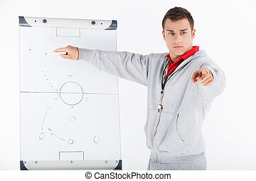 strategy., futball autóbusz, kiállítás, övé, stratégia