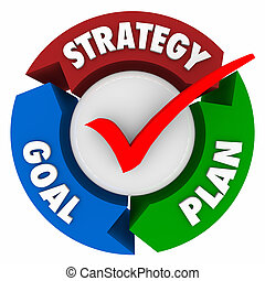 Strategy Goal Plan Three Arrow Diagram Mission Achieve Success